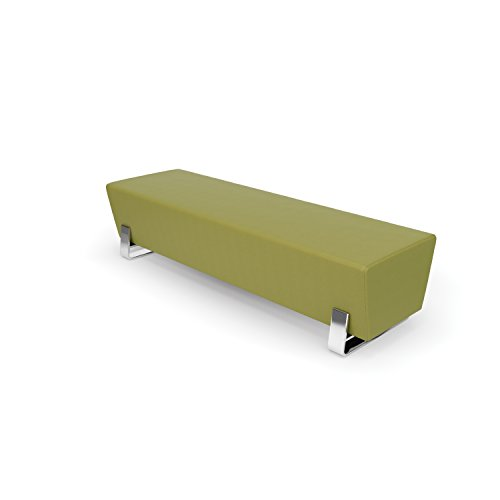 OFM Axis Series Contemporary Triple Seating Bench, Textured Vinyl with Chrome Base, in Leaf (4003C-LEF)