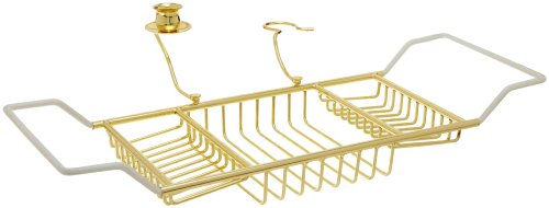 Polished Brass Shower Caddy - Taymor Polished Brass Bathtub Caddy with Candle Holder and Wine Glass Holder