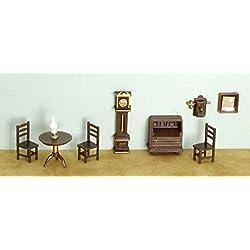 Danike Decor Miniature Dollhouse Fairy Garden Furniture ¼ Micro Mini 9 PCE Living Room Set