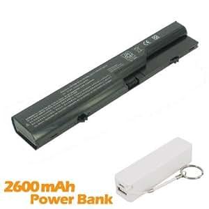 Battpit Bateria de repuesto para portátiles HP 593572-001 (47wh) con 2600mAh Banco de energía/batería externa (blanco) para Smartphone