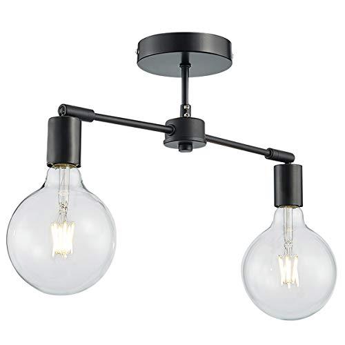 - ANJIADENGSHI Matte Black Ceiling Light, 2-Light Modern Style Ceiling Lights Fixture for Living Room Dining Room Kitchen Bedroom