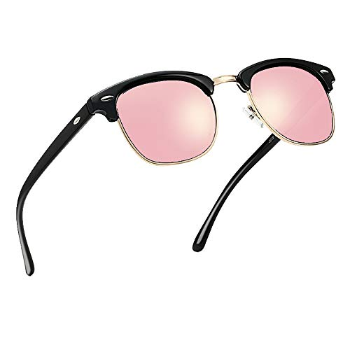 Polarized Half Frame Horn Rim Vintage Sunglasses Semi-Rimless Retro Brand Sun Glasses Women - Pink Rim
