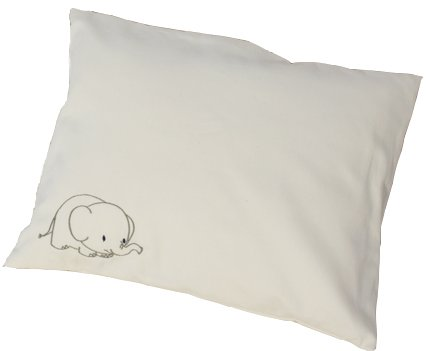 Lifekind Organic Toddler Pillow with Elephant Pillowcase 12x16