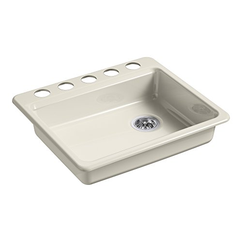KOHLER K-5479-5U-FD Riverby 25 in. x 22 in. x 5-7/8 in. Undermount Single-Bowl Kitchen Sink with 5 Oversized Faucet Holes, Cane Sugar, 25