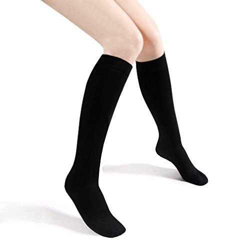 Basico Girls Kid's 12 Pack School Uniform Knee High Socks (M 4-6, Black)