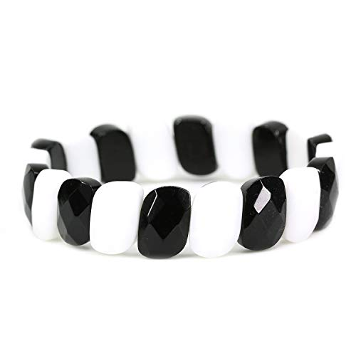 White Porcelain and Black Agate 15mm Faceted gemstone beads beaded stretchable elastic bracelet 7""