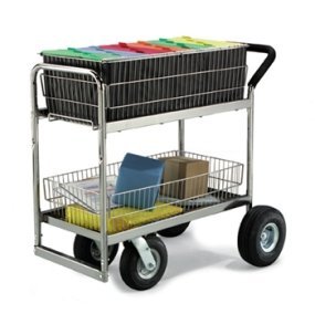 Charnstrom Medium Wire Basket Mail Cart with Caster Options (M262) by Charnstrom