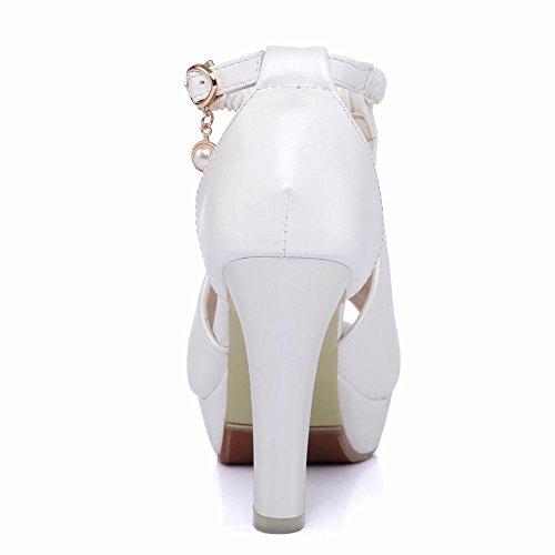 Carolbar Plataforma Para Mujer Peep Toe Trenza De Tacón Alto Vestido De Novia Sandalias Blancas
