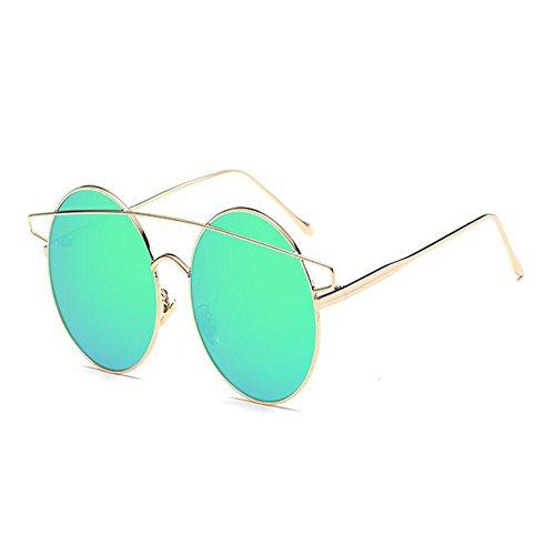 Light amp; Gafas Xinvision Clásico sol gato Marco Gafas Ultra Plano Mujer Beams de Verde Gris Thin de Ojos Metal Gafas Espejo Twin 6q6ZPn