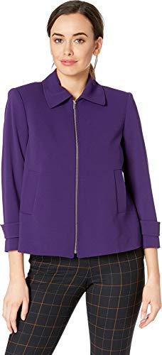 Calvin Klein Women's Scuba Crepe Zip Front Jacket Night 10 ()