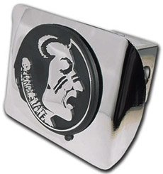 MVP Accessories Florida State Seminoles Chrome Metal Hitch Cover with Chrome Seminole - Florida Trailer Hitch State