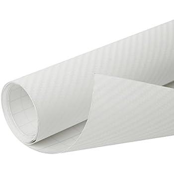 """4D Carbon Fiber Bubble Free Stretchable Car Vinyl Film Sticker 118/"""" x 20/"""" White"""