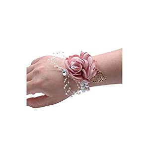 alerghrg Girls Bridesmaid Wrist Flowers Wedding Prom Party Corsage Bracelet Fabric Hand Flowers Wedding Supply Accessories 6C2823 95