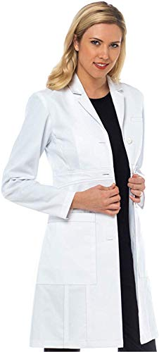 Med Couture Boutique Women's Tailored Empire Long Length Lab Coat, White, 6