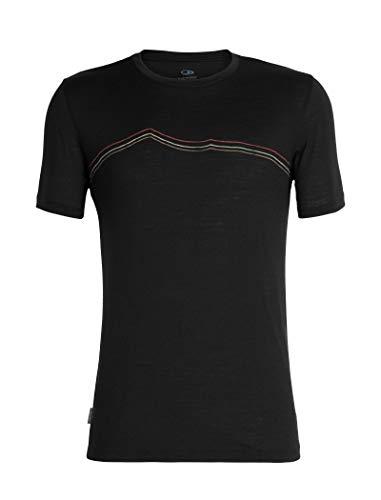 Icebreaker Merino Men's Tech Lite Short Sleeve Crewe Rangitoto Triple, Black, Small ()