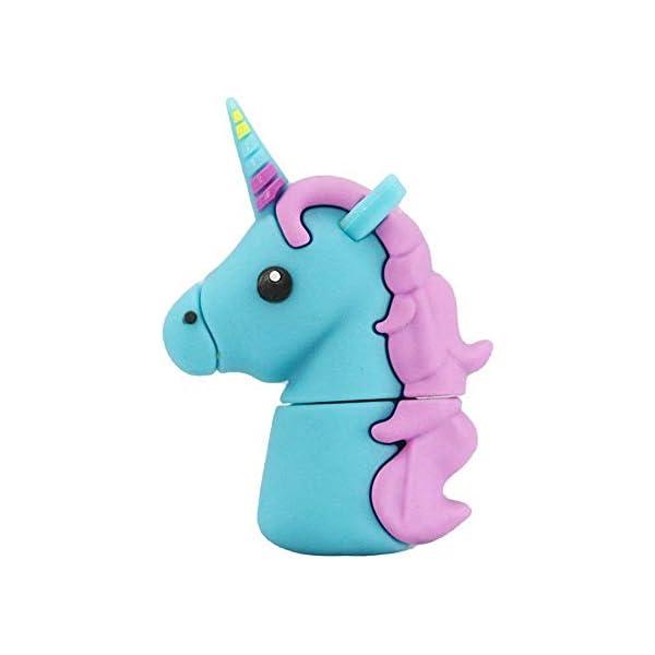 Aneew - Memoria USB de 16 GB con diseño de unicornio azul y caballo arco iris