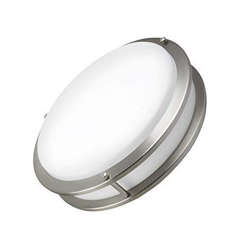 NOVELUX LED Flush Mount Light Fixture, 16-Inch 24W (150W Equivalent), 4000K (Cool White) 1900lumens, Dimmable Damp Location Ceiling Lamp Fixture,Brushed Nickel Finish for Living Room Bedroom Lamps