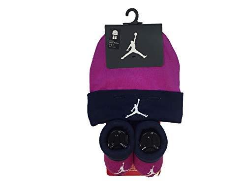 Hat Bootie Set - Nike Jordan Infant Baby Hat and Booties Set (Purple(AJ0102-A6F)/Navy, 0-6 Months)