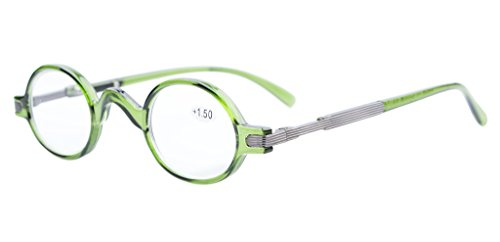 Eyekepper Readers Spring Temple Vintage Mini Small Oval Round Reading Glasses Green - Distance Glasses Bridge