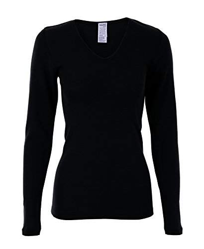 Black Long Sleeved Silk Top (Women's Organic Wool & Silk Long-Sleeved V-Neck Top (36/38, Black))