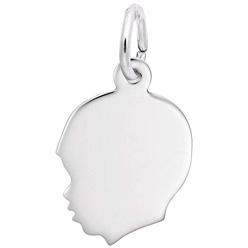 - Custom Engraving (up to 8 characters) Rembrandt Charms, Small Boy Silhouette.925 Sterling Silver, Engravable