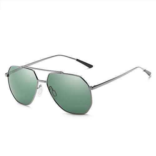 Sol Gafas Moda Sol Color de De Metal Los Sol De Polarizadas Sol De Gafas Gray Black Los HD Hombres TLMY Gafas Hombres Frame Gun De Lens De Frame Green Lens De De Gafas 1wPgqg