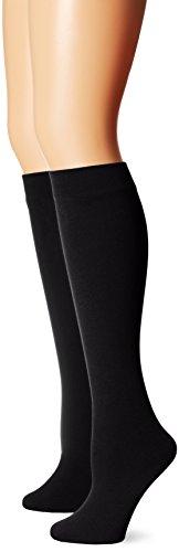Muk Luks Women's Fleece Lined 2-Pair Pack Knee High Socks, Black, Large/X-Large