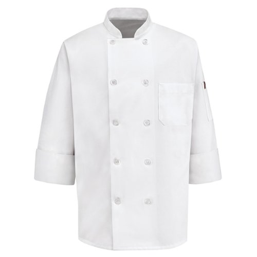 Chef Coat Jacket Uniform (Red Kap Chef DesignsTen Pearl Button Chef Coat, White, Medium)