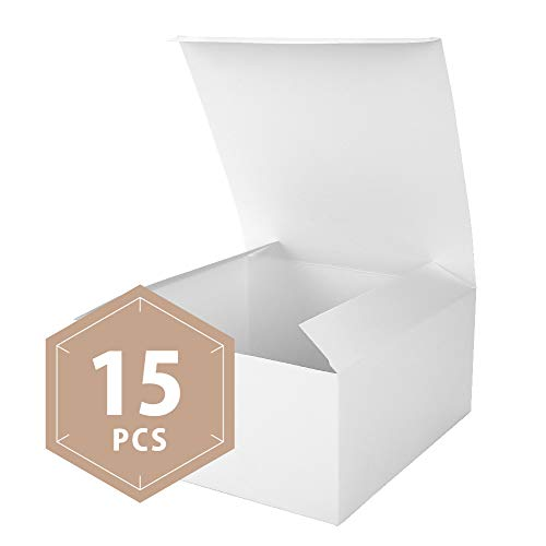 PACKHOME 15 Gift Boxes 8x8x4 Inches, Bridesmaid Boxes, Paper White Gift Boxes with Lids for Gifts, Crafting, Cupcake Boxes