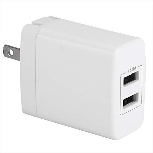 FIT-POWER 4.8A 24W Dual USB Cube Power Adapter, 2 Fast 2.4A Powerport Wall Charger for iPhone X/8/7/6/7 Plus/6S/6 Plus, Ipad Pro/Air2/mini2, Galaxy S7/S6/Edge/Plus, Note5/4, LG, Nexus, HTC, and More