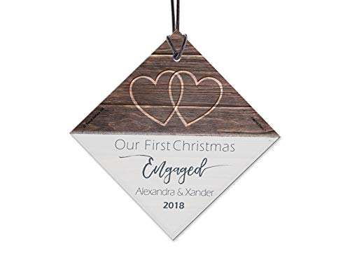 Tree Ornament Personalized Christmas (First Christmas Engaged Fused Glass Ornament Personalized Rustic Double Hearts Farmhouse Christmas Tree Date Display 3.5