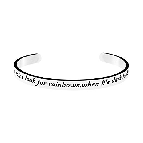 Yiyang Inspirational Message Engraved Cuff Bangle Bracelet for Women When It Rains Look for Rainbows When It's Dark Look for Stars