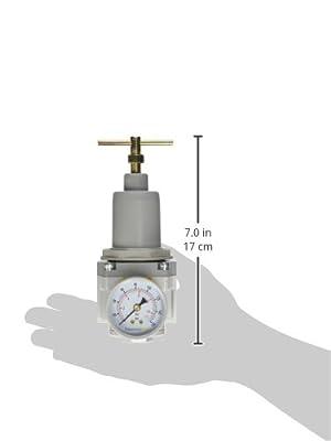 "PneumaticPlus SAR4000T-N04BG Air Pressure Regulator T-Handle 1/2"" NPT with Gauge & Bracket"