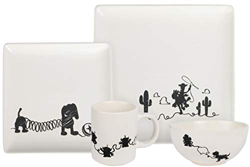 Toy Story 4-Piece Ceramic Dinnerware Set With Scribble Design - Cute Character Line Drawings - Beautiful Glazed White Square Dinner & Salad Plates With 16 Oz. Bowl & 11 Oz. Mug Place Setting
