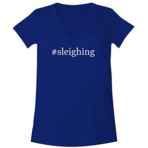 The Town Butler #Sleighing - A Soft & Comfortable Women's V-Neck T-Shirt, Blue, Small