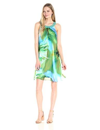 Robbie Bee Women's Printed Watercolor Chiffon Shift Dress...