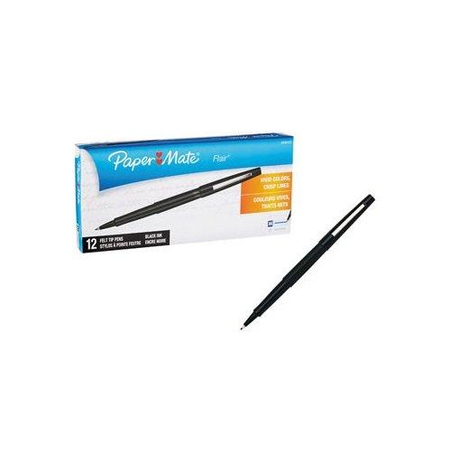 Paper Mate Flair Felt Tip Pens, Medium Point 1.0mm (2-Dozens, Black)