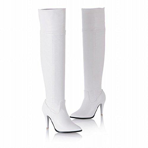 Mee Shoes Damen Reißverschluss langschaft ungefüttert high heels Stiefel Weiß