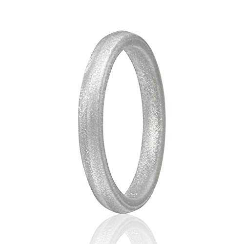 (ROQ Silicone Wedding Ring for Women,Single Stackable Silicone Rubber Wedding Bands Point- Silver - Size)