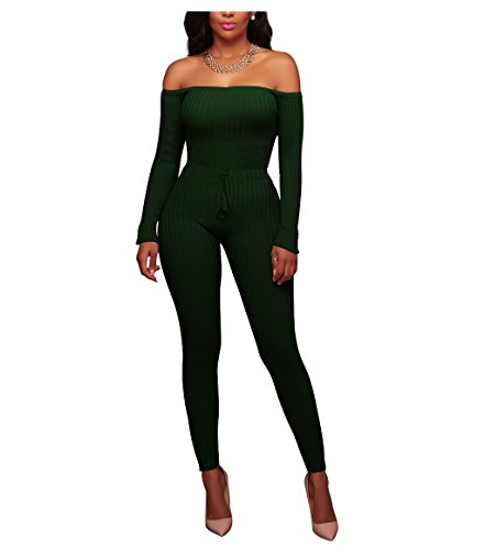 Chic-Lover Women's Sexy Long Sleeve Off Shoulder Drawstring Bodycon Jumpsuits Rompers Green L