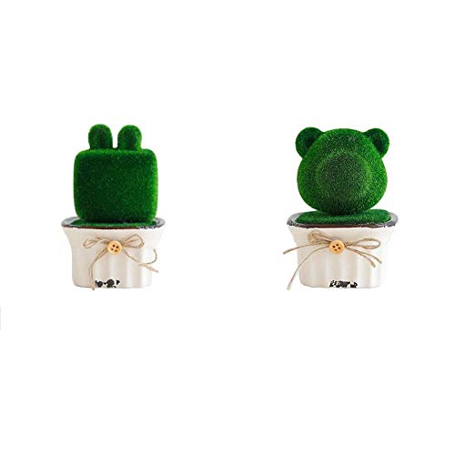 ke Simulation Plants Decoration Mini Creative Not Faded No Watering Potted for Windowsill Desk Home Office - 2 Pack ()
