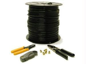 - C2G 29833 RG6 Dual Shield Coaxial Cable Installation Kit, Includes Bulk RG6/U Cable (500 Feet, 152.4 Meters) a Coax Cutter, Stripper, Crimping Tool, and Hex Crimp F-Type Connectors for RG6 (20 Pack)