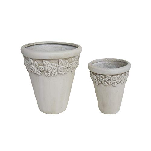 (Great Deal Furniture Alice Garden Planter Pots, Lipped Edges, Tapered, Botanical Accents, Antique White Lightweight Concrete (Set of 2))