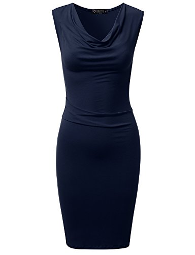 Shirred Cowl Neck - DRESSIS Womens Knitted Sleeveless Cowl Neck Fitted Dress Navy XL