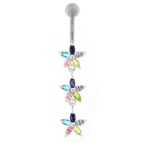 Coloré Multi couleur cristal Pierre fantaisie Triple fleurs en argent Sterling avec anneau de nombril en acier inoxydable