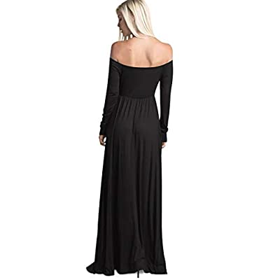 Amoretu Womens Casual Long Sleeve Off Shoulder Maxi Long Dress with Pocket at Women's Clothing store
