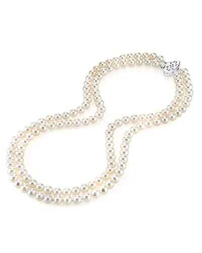 THE PEARL SOURCE 7.0-7.5mm AAA Quality Double Strand White Freshwater Cultured Pearl Necklace for Women in 18-19