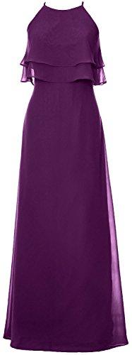 MACloth Elegant Long Bridesmaid Dress Tiered Chiffon Wedding Party Formal Gown Eggplant