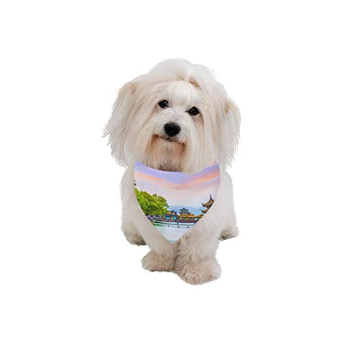 WJJSXKA Easter Pet Dog Cat Bandana Hangzhou West Lake Attractions Tour Fashion Printing Bibs Triangle Head Scarfs Kerchief Accessories for Large Dog Cat Pet Birthdays Party Gifts]()