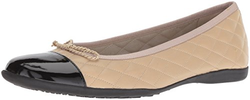 Sole French Flats Leather - French Sole FS/NY Women's Passport Ballet Flat, Black/Beige, 7 M US